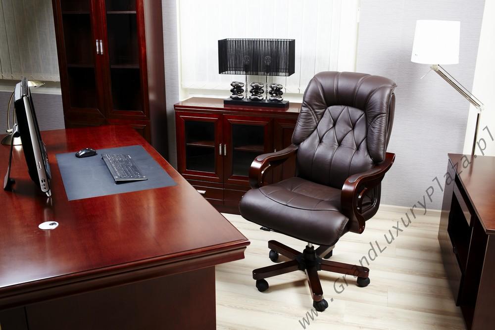 Ekskluzywny Wygodny Skórzany Fotel Biurowy MAKLER Brąz