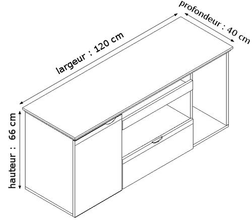 Bureau classique ensemble de cabinet diamante 1 6m for Largeur bureau